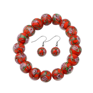 2 Piece Set - Red Murano Glass Strachable Bracelet (Size 6,7.5 with 2 inch Extender) and Hook Earrin