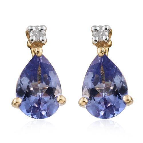 9K Yellow Gold 1 Ct AA Tanzanite Earrings (with Push Back) with Diamond