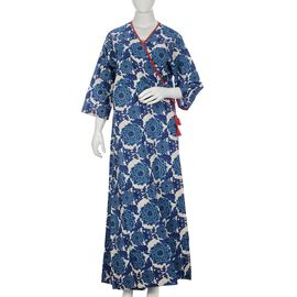 100% Cotton Screen Printed Floral Pattern Long Dress