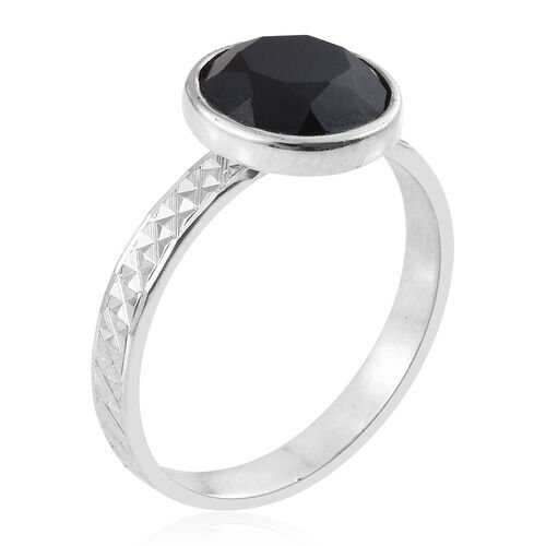 Boi Ploi Black Spinel (Rnd) Solitaire Ring in Rhodium Plated Sterling Silver 3.140 Ct.