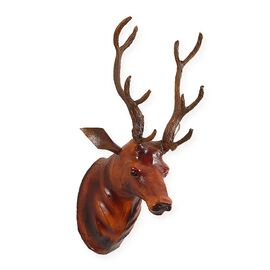 Safari Collection - 100% Leather Handmade Deer Wall Mount (Size 23x23x55 Cm) - Brown Colour