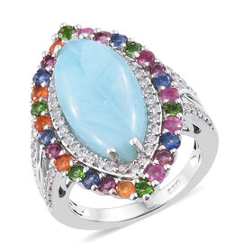 Larimar (Mrq), Multi Gemstone Ring in Platinum Overlay Sterling Silver 7.750 Ct, Silver wt 5.5 Gms