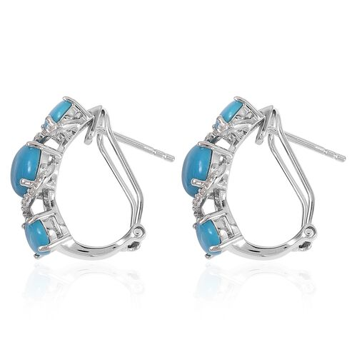 Arizona Sleeping Beauty Turquoise (Ovl), Natural White Cambodian Zircon Earrings (with French Clip) in Rhodium Plated Sterling Silver 6.100 Ct.
