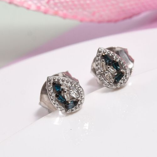 Children Blue and White Diamond Earrings in Sterling Silver