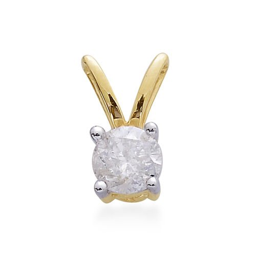 9K Yellow Gold SGL Certified Diamond (Rnd) (I3 G-H) Solitaire Pendant 0.500 Ct.