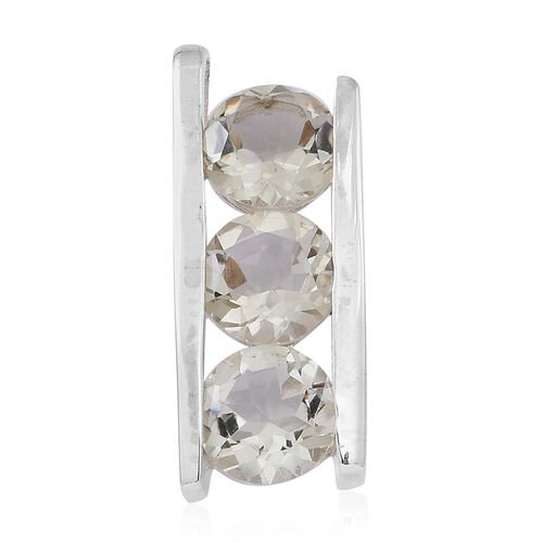 Green Amethyst (Rnd) Trilogy Pendant in Sterling Silver 5.000 Ct. Silver wt 3.60 Gms.