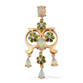 Ethiopian Welo Opal and Natural Cambodian Zircon Enamelled Pendant in 14K Gold Overlay Sterling Silv