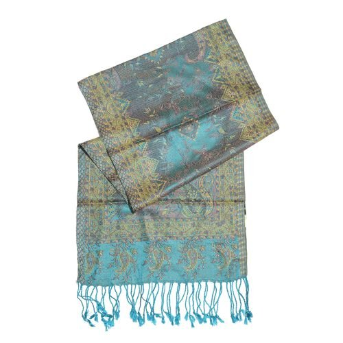 SILK MARK - 100% Superfine Silk Blue and Multi Colour Paisley and Floral Pattern Jacquard Jamawar Scarf with Tassels (Size 160X35 Cm)
