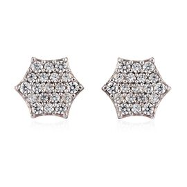 WEBEX- J-Francis Rose Gold Overlay Sterling Silver Cluster Earrings (with Push Back) Made with SWARO