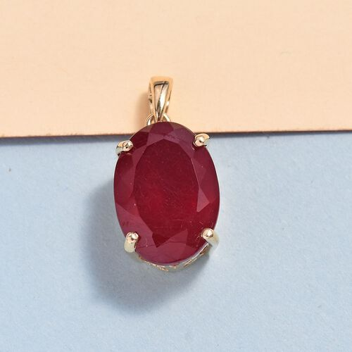 9K Yellow Gold AAA African Ruby (Ovl 14x10mm) Pendant 8.95 Ct.