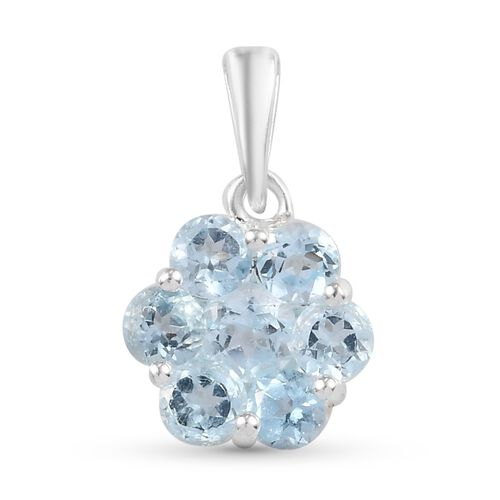 Skyblue Topaz  Floral Pendant in Sterling Silver 1.55 Ct.