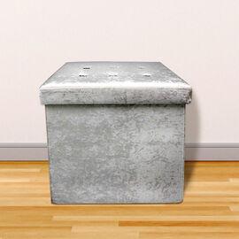 Lesser and Pavey Velvet Folding Storage Ottoman Box in Light Grey (Size 38x38x38 cm)