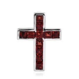 Mozambique Garnet (Sqr) Cross Pendant in Platinum Overlay Sterling Silver 2.500 Ct.