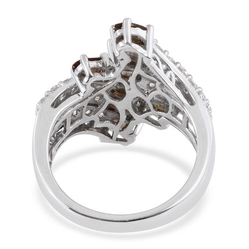 Jenipapo Andalusite (Ovl), White Topaz Ring in Platinum Overlay Sterling Silver 3.250 Ct.