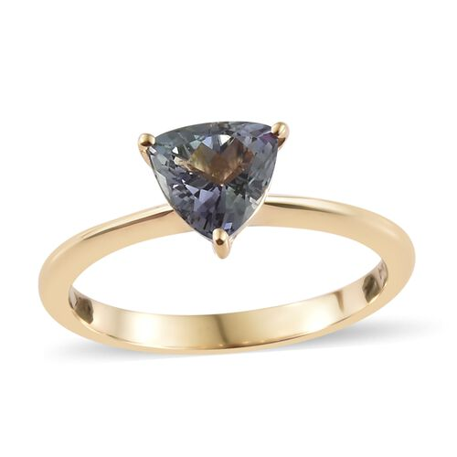 ILIANA 18K Yellow Gold Peacock AAA Tanzanite (Trl) Solitaire Ring 1.000 Ct.