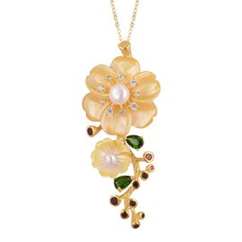 JARDIN COLLECTION - Yellow Mother of Pearl, Freshwater White Pearl, Russian Diopside and Multi Gemstone Pendant with Chain (Size 18) in Gold Overlay Sterling Silver, Silver wt. 8.60 Gms