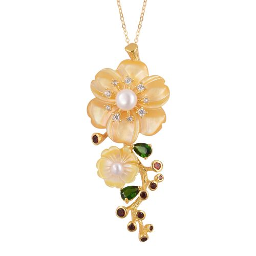 JARDIN COLLECTION - Yellow Mother of Pearl, Fresh Water White Pearl, Russian Diopside and Multi Gemstone Pendant with Chain (Size 18) in Gold Overlay Sterling Silver, Silver wt. 8.60 Gms