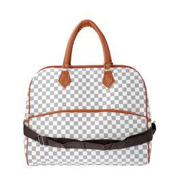 Designer Inspired- Check Pattern Handbag (Size 43x15x37cm)- White and Black
