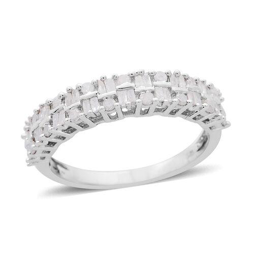 Diamond (Rnd) Ring in Platinum Overlay Sterling Silver 0.750 Ct.