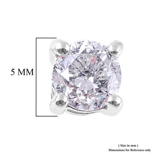 14K White Gold SGL Certified Diamond (Rnd) (I1-I2/G-H) Stud Earrings (with Screw Back) 1.00 Ct.