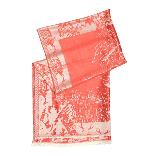 SILK MARK- 100% Superfine Silk Red and Silver Colour Jacquard Jamawar shawl (Size 180x70 Cm) (Weight 125-140 Grams)