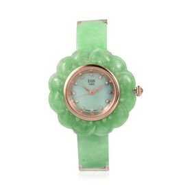 EON 1962 Carved Green Jade MOP Swiss Movement Water Resistant Watch. Total Ct Wt 116 Cts