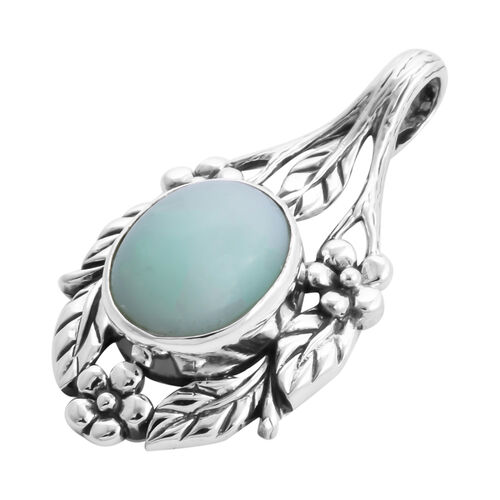Royal Bali Collection - Green Opal Floral Leaf Pendant in Sterling Silver 3.04 Ct.