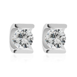 9K White Gold SGI Certified Diamond (Rnd) (I3/G-H) Stud Earrings (with Push back) 0.330 Ct.
