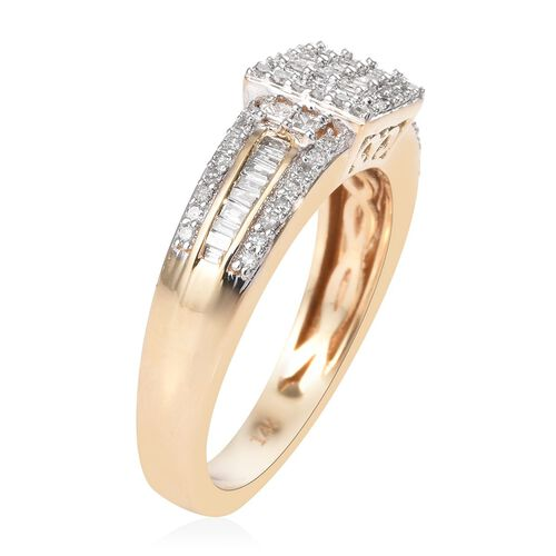 14K Yellow Gold SGL Certified Diamond (Sqr and Bgt) (I1-I2/G-H) Ring 0.50 Ct., Gold Wt. 5.00 Gms