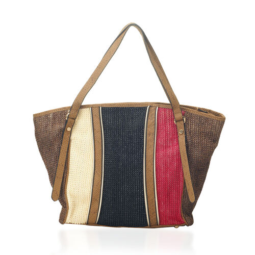 Multi Colour Snake Skin Pattern Hand Bag (Size 18.4x6.4x11.4 inch)
