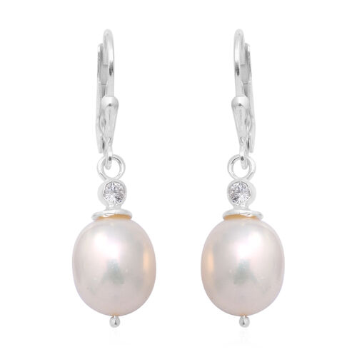 Freshwater Pearl and Simulated Diamond Lever Back Earrings in Sterling Silver
