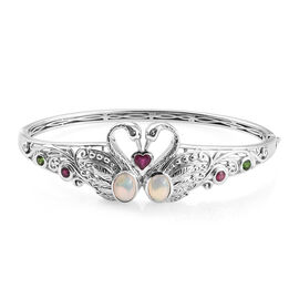 GP Ethiopian Welo Opal (Ovl), African Ruby, Russian Diopside and Kanchanaburi Blue Sapphire Swan Bangle (Size 7.5) in Platinum Overlay Sterling Silver 2.650 Ct, Silver wt 25.33 Gms.
