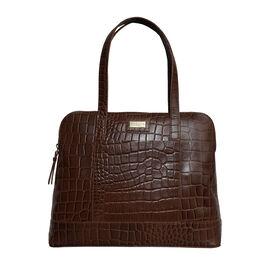 Assots London EVA 100% Genuine Leather Croc Embossed Handbag - Dark Tan
