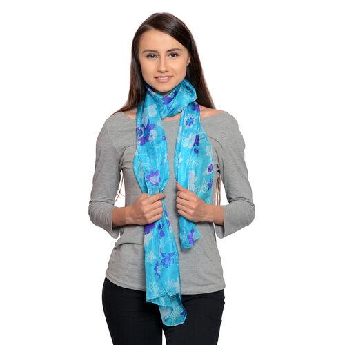 100% Mulberry Silk Purple and White Colour Floral Pattern Sea Blue Colour Scarf (Size 180X50 Cm)