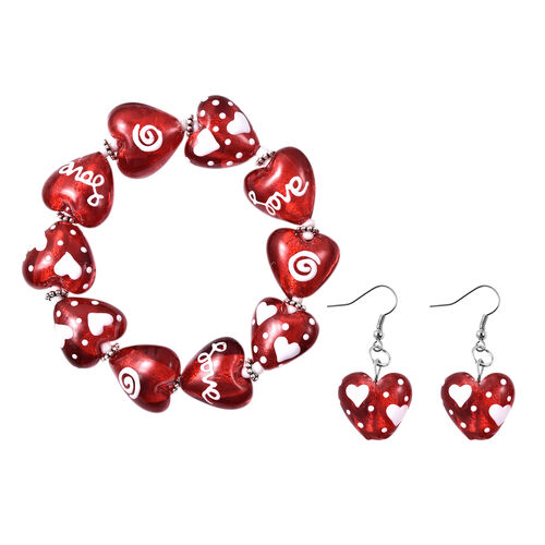 2 Piece Set -  Red Murano Style Glass and Simulated Diamond Enamelled Heart Stretchable Bracelet (Si