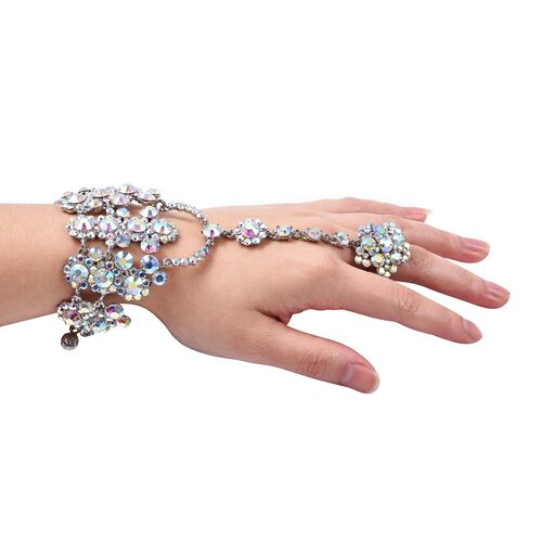 (Option 3) - Simulated Mystic White Crystal (Rnd) Bracelet/Ring (Size 6 with 3 inch Extender)