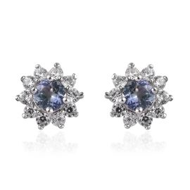 Peacock Tanzanite (Rnd), Natural Cambodian Zircon Stud Earrings (with Push Back) in Platinum Overlay