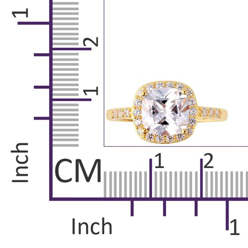 One Time Deal- ELANZA Simulated White Diamond (Cush 8.0 mm) Ring in Yellow Gold Overlay Sterling Silver
