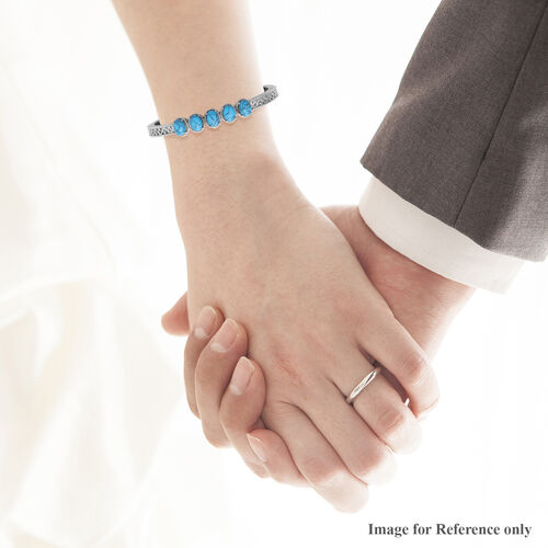 Blue Howlite Bangle (Size 7) in Stainless Steel 1.25 Ct.