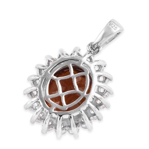 Ratnapura Hessonite Garnet (Ovl 12x10 mm), Natural Cambodian Zircon Pendant in Platinum Overlay Sterling Silver 7.00 Ct.