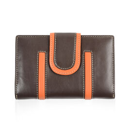 Close Out Deal - 100% Genuine Leather Wallet with Multi Compartmentst- Brown and Orange