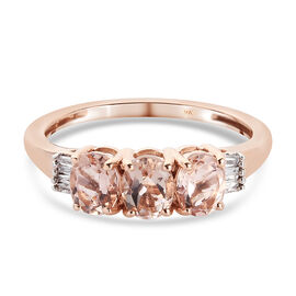 9K Rose Gold AA Marropino Morganite and Diamond Ring 1.05 Ct.