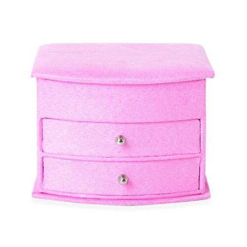 Pink Colour 3 Layer Velvet Jewellery Box with Mirror Inside and 2 Removable Drawers (Size 14.5x12x10