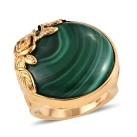 30 Ct Malachite Solitaire Floral Ring (Size K) in Gold Plated