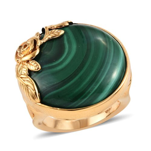30 Ct Malachite Solitaire Floral Ring in Gold Plated