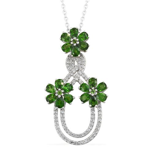 4.50 Ct Russian Diopside and Natural Cambodian Zircon Infinity Pendant with Chain in Silver
