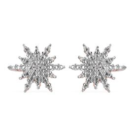 Diamond Starburst  Stud Earrings (with Push Back) in Rose Gold Overlay Sterling Silver