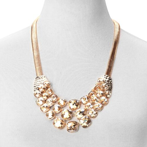 Simulated Champagne Diamond BIB Necklace (Size 22 with 2 inch Extender) in Yellow Gold Tone