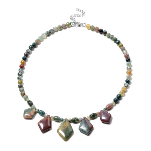 Indian Agate Necklace (Size 18) in Stainless Steel 189.00 Ct.