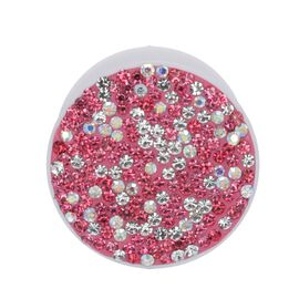 Pink and White Shungite Plate Phone Pop Holder (Size 4x2 Cm)